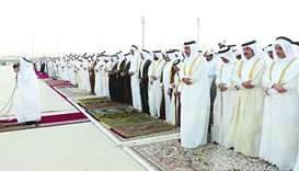His Highness the Amir Sheikh Tamim bin Hamad al-Thani performs Eid Al Fitr prayer with citizens at A