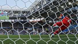 Iceland's Hannes Por Halldorsson saves a penalty from Argentina's Lionel Messi
