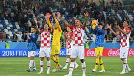 Croatia's players celebrate after during the World Cup Group D football match between Croatia and Ni