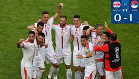 Serbia's players celebrate their victory the Russia 2018 World Cup Group E football match against Co