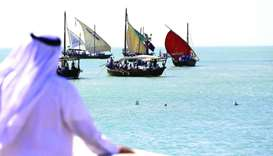 Kuwaiti sailors prepare to sail away in dhows on a pearl diving trip