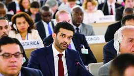 Hassan al-Thawadi addressing the opening of the 38th Session of the UN Human Rights Council in Genev