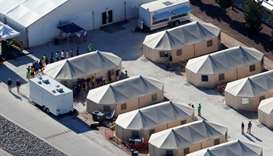 Immigrant children now housed in a tent encampment