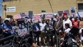 New Jersey and New York Congressmen hold a news conference during a protest against recent U.S. immi