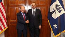 Sheikh Ahmed with the US Secretary of Commerce Wilbur Ross in Washington