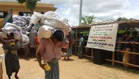 Food baskets distributed to Rohingyas.
