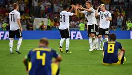 Germany's palyers celebrate their second goal during the Russia 2018 World Cup Group F football matc