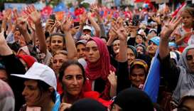 Supporters of Turkish President Tayyip Erdogan attend an election rally yesterday in Istanbul.