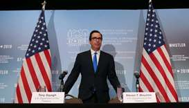 United States Secretary of the Treasury Steven Mnuchin arrives at a news conference after the G7 Fin