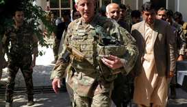 US Army General John Nicholson, commander of Resolute Support forces and US forces in Afghanistan, w