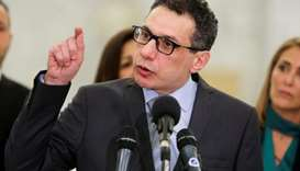 Freed Lebanese businessman Nizar Zakka gestures during a news conference