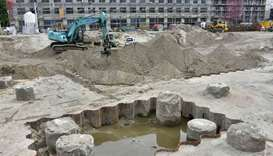 General view of the construction site close to Berlin's Alexanderplatz where a 100 kg World War II b