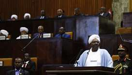 A file photo taken on April 01, 2019 Sudanese President Omar al-Bashir addressing parliament in the