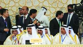 His Highness the Amir Sheikh Tamim bin Hamad al-Thani attends the opening session of the fifth summi