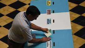Guatemala's Supreme Electoral Tribunal workers set up a polling station in Guatemala City
