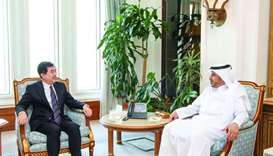HE the Prime Minister and Interior Minister Sheikh Abdullah bin Nasser bin Khalifa al-Thani met on S