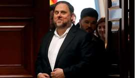 Jailed Catalan politician Oriol Junqueras leaves after getting his parliamentary credentials at Span