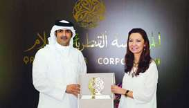 HE chief executive officer of Qatar Media Corporation Sheikh Abdulrahman bin Hamad al-Thani meets Sp