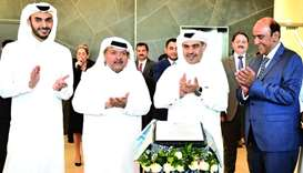 HE the Minister of Commerce and Industry Ali bin Ahmed al-Kuwari (2nd from right) after unveiling a