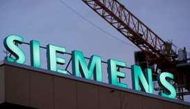 The logo of German industrial group Siemens is seen in Zurich, Switzerland