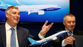 Boeing Commercial Airplanes CEO Kevin McAllister and International Airlines Group CEO Willie Walsh a