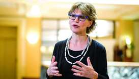 UN special rapporteur on extrajudicial, summary or arbitrary executions Agnes Callamard gestures as