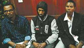 (From left) Suspected accomplices Hassan Aden Hassan, Mohamed Ali Abdikar and Rashid Charles Mberese
