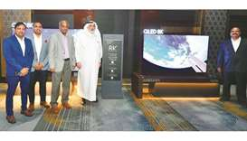 Techno Blue Qatar chairman Sheikh Nasser bin Hamad al-Thani, along with Techno Blue and Samsung offi
