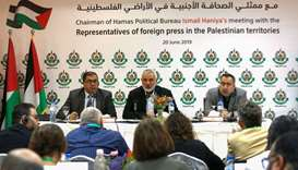 Hamas leader in Gaza Ismail Haniya speaks during a meeting with Foreign press correspondents, in Gaz