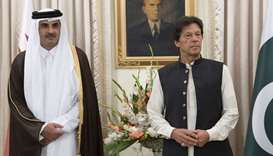 His Highness the Amir Sheikh Tamim bin Hamad al-Thani and Pakistan Prime Minister Imran Khan witness