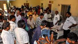 Indian injured people are being treated at a hospital in Barmer in the state of Rajasthan  after a p