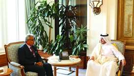 HE the Prime Minister and Minister of Interior Sheikh Abdullah bin Nasser bin Khalifa al-Thani met t