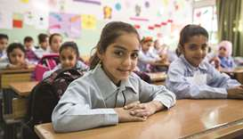 Sara, 9, pictured in her class at Jefna school, in Zahle, Lebanon. Sara and her family are Palestini