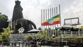 A view of the square in front of the National Theater of Ethiopia where the national flag is half lo