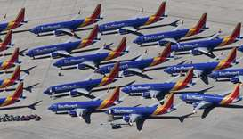 n this file photo taken on March 28, 2019, Southwest Airlines Boeing 737 MAX aircraft are parked on