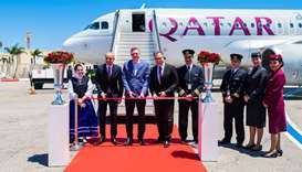 A ribbon cutting ceremony at Malta International Airport on Tuesday, marking the arrival of Qatar Ai