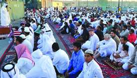 Eid prayer at Al Sadd Club. PICTURE: Nasar K Moidheen
