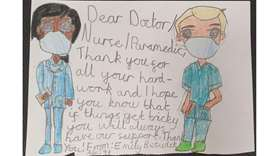 Children make 'Thank you' cards for HMC paramedics, staff