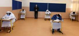 Students appear for the final examinations of the second semester of Secondary School Certificate. P