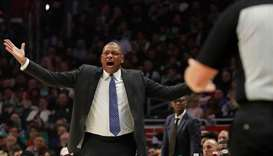 Los Angeles Clippers head coach Doc Rivers during a game against the Boston Celtics at Staples Cente