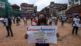 Demonstration against government's handling of coronavirus in Kathmandu