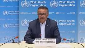 WHO Director General Tedros Adhanom Ghebreyesus in a virtual briefing from WHO headquarters in Genev