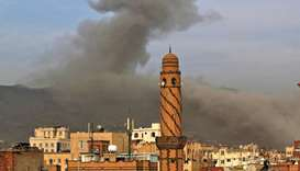 Smoke billows following an airstrike by Saudi-led coalition in the Yemeni capital Sanaa, on June 16,