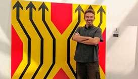 DISTINCT: The artist with his work entitled Diversion.