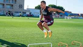 Villarreal midfielder Santi Cazorla trains.