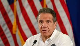 NY Governor Andrew Cuomo speaks during a press briefing on Covid-19 at Madison Boys and Girls Club i