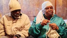 Enok Mukanhairi (left), 57, a blind person from Zimbabwe, and his blind wife Angeline Tazira, 50, si