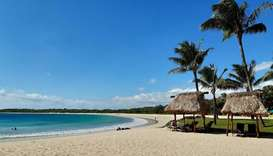 "A beach at Natadola Bay in Fiji. Tourism-reliant Fiji on June 2020 has proposed a ""travel bubble"" to"