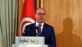Tunisian Prime Minister Elyes Fakhfakh speaks during a handover ceremony in Tunis, February 28, 2020