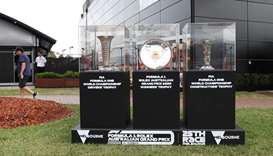 A display of the trophies before the first practice session for the Formula One Australian Grand Pri